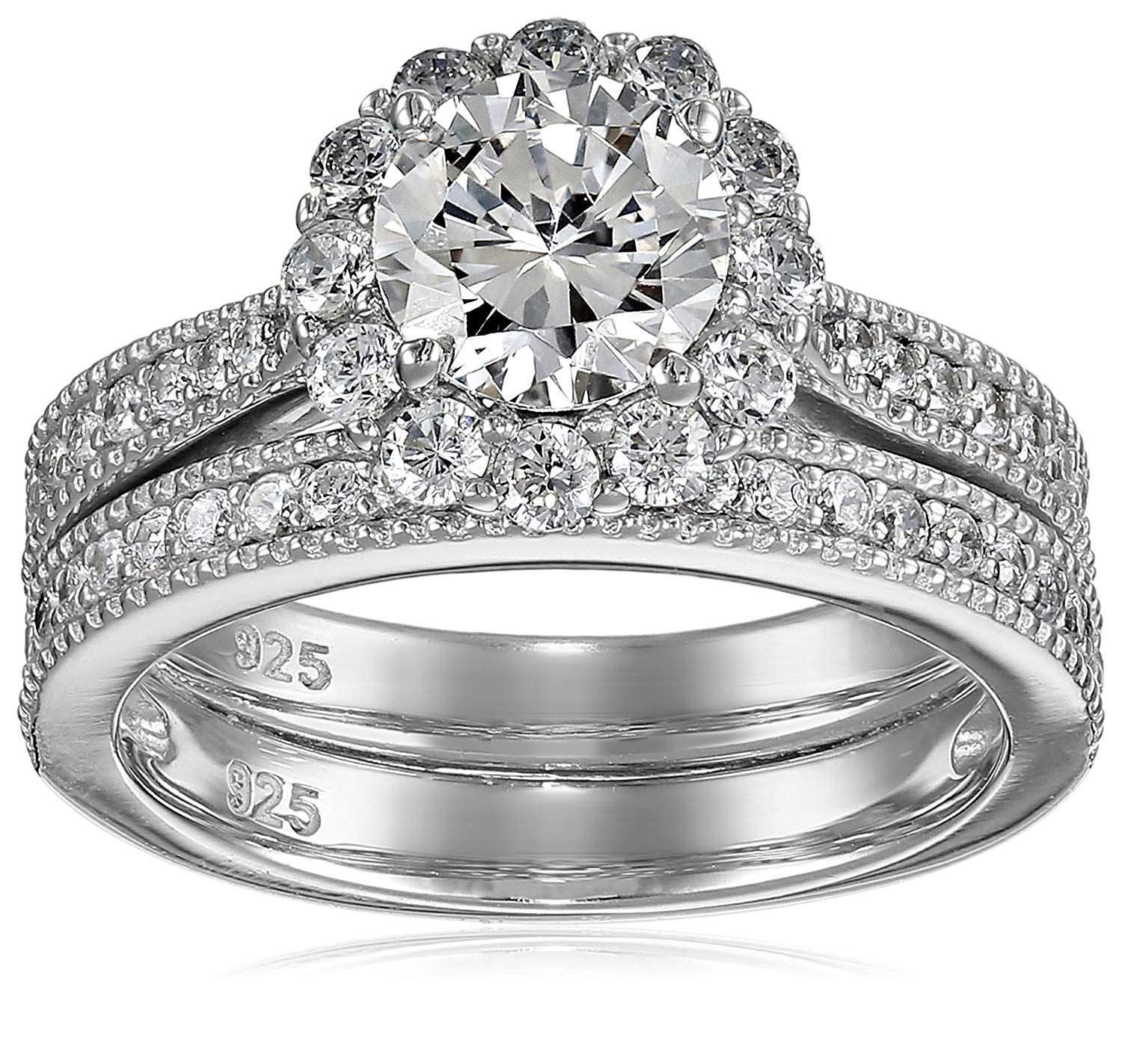 Double Accent Platinum Plated Sterling Silver 1ct Round CZ