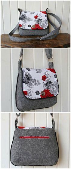 Lilac mini messenger bag - free pattern | Pinterest | Nähen, Taschen ...