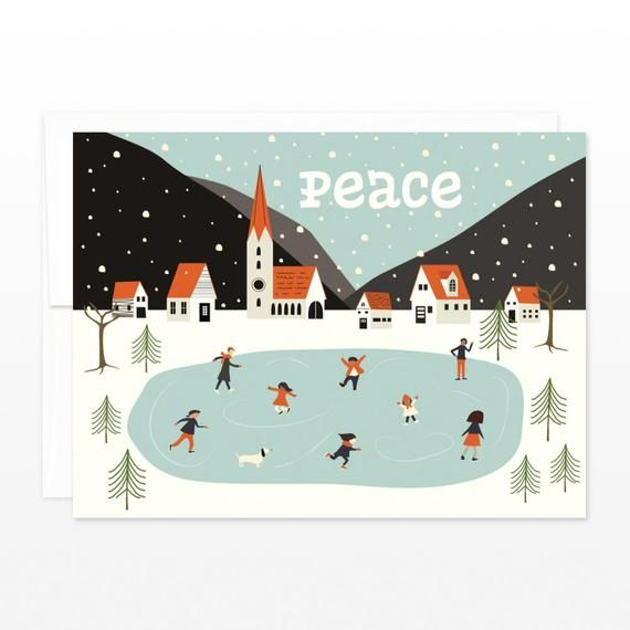 Peace Christmas Card, Cute Winter Village Holiday Greeting