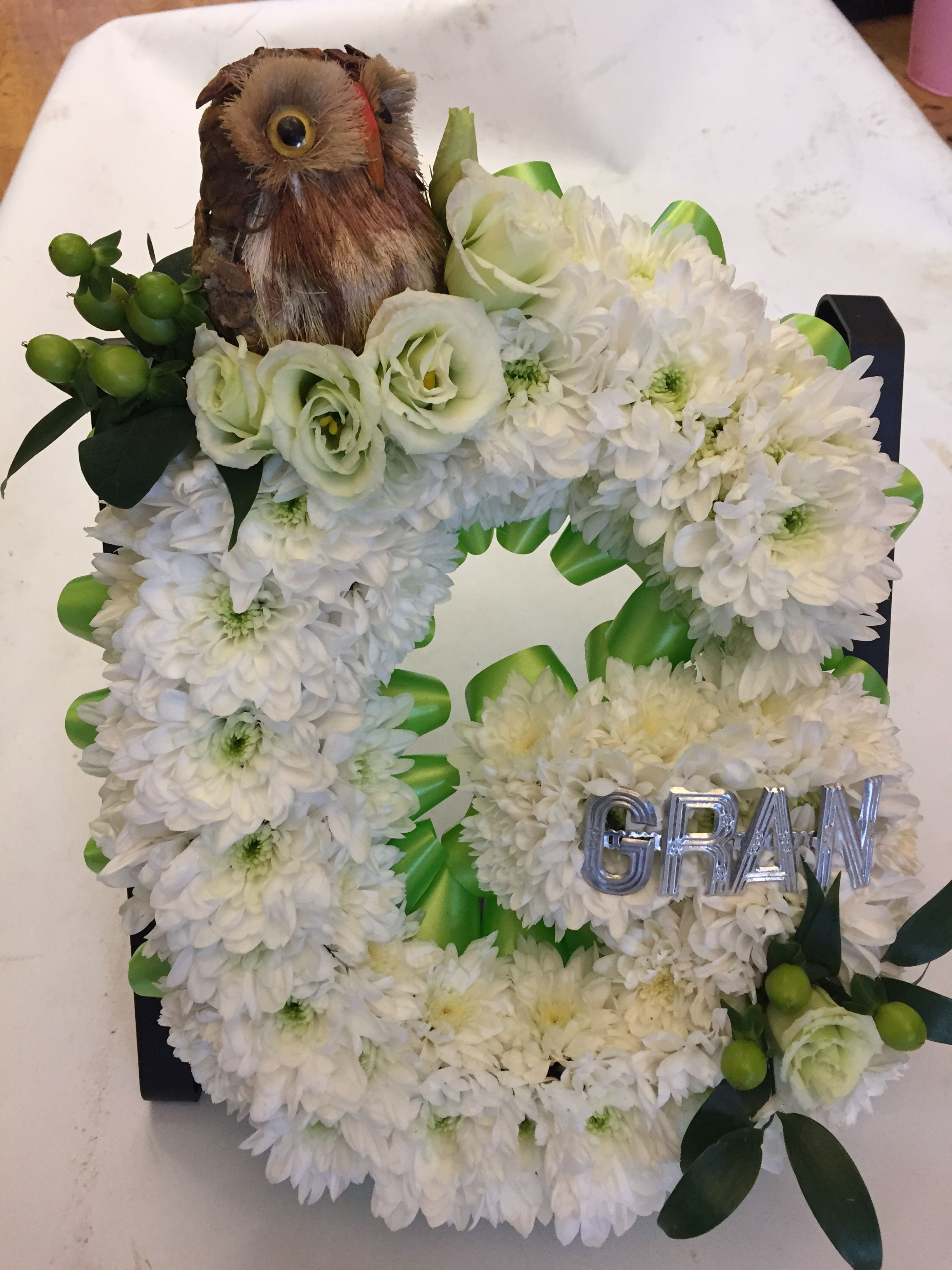 Letter G For Gran As Funeral Flowers With An Owl And Silver Letters Funeral Flowers Wedding Flowers Flowers