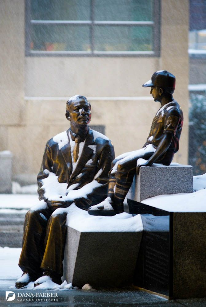 Snow Covers The Statue Of Dr Sidney Farber And Jimmy In His
