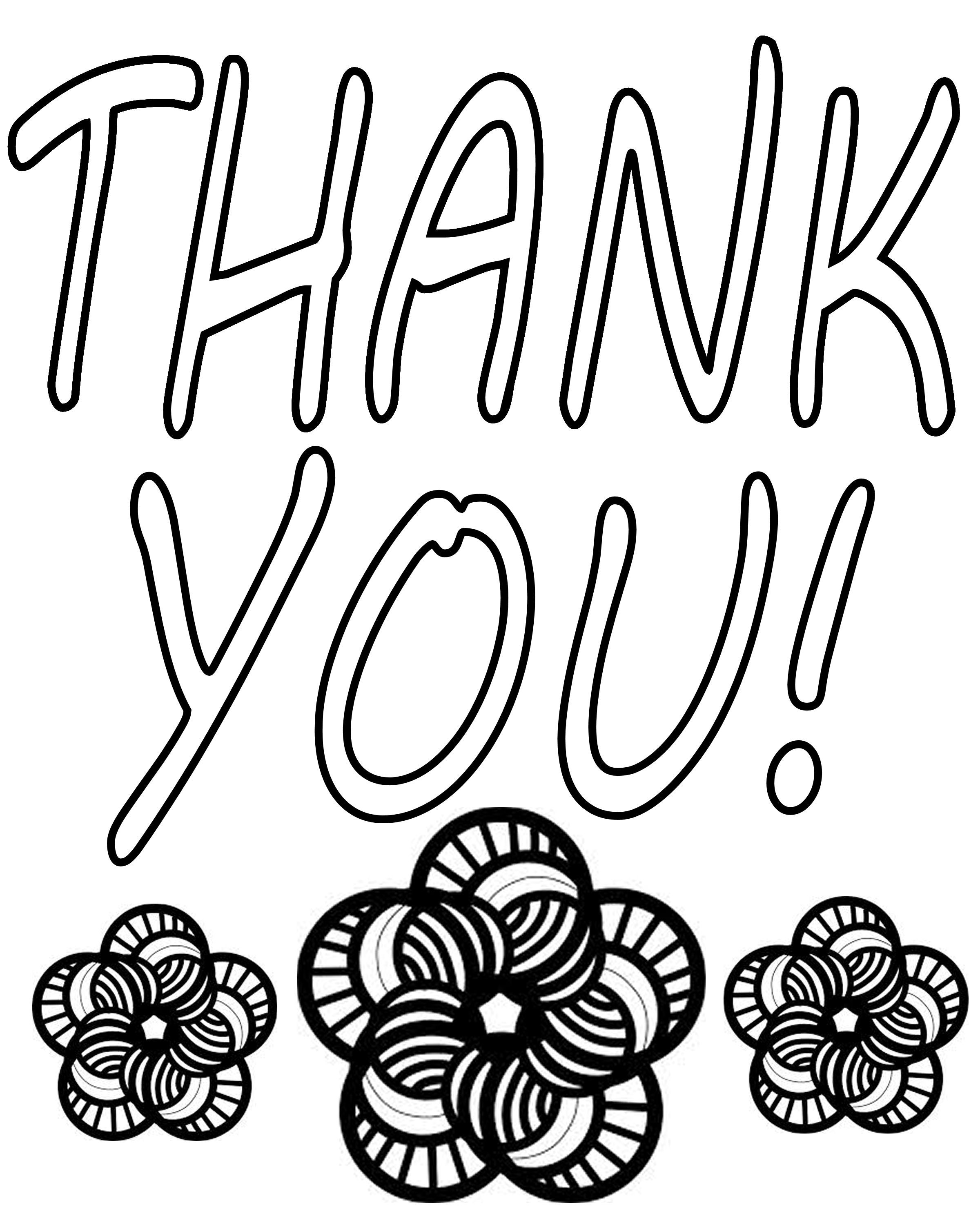 coloring pages thank you card - photo#7