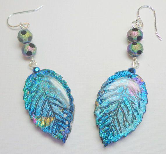 Leaf  Dangle Sapphire Earrings, polymer clay Jewelry via Etsy