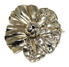 Vintage Hobe Sterling Silver Flower Pin w/ Open Cut Design & Raised Up Center