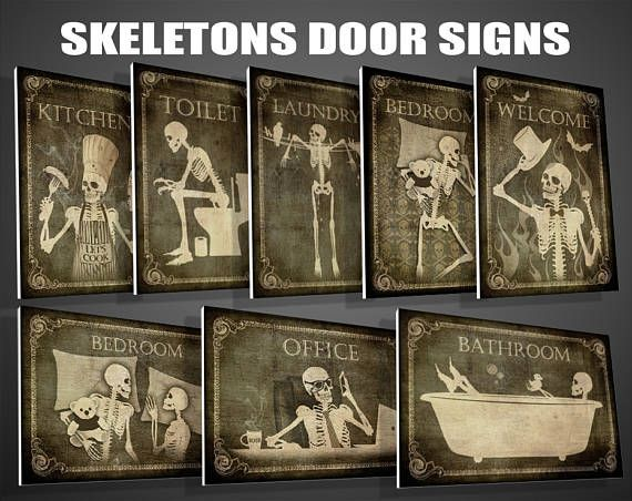 Gothic Door signs,Toilet sign, Bathroom sign,Laundry sign,Bedroom sign,horror,Kitchen,Welcome,Office,signs,skulls signs,Gothic decor,Gothic #gothichome