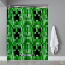 Minecraft Creeper Games Shower Curtain
