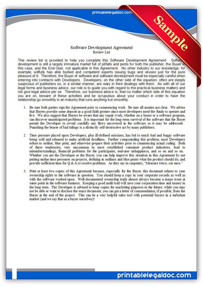 Printable software development agreement Template | PRINTABLE ...