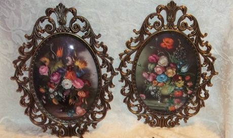 Pair of Vintage Curved Glass Metal Frame Flower Pictures Made in ...