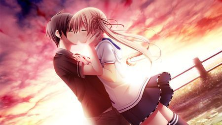 Love Kiss Of Cute Anime Couple Wallpaper