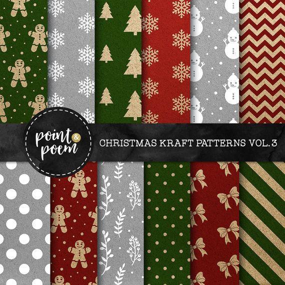 7330af9a0008 80% OFF SALE Christmas Digital Paper Kraft by pointandpoem
