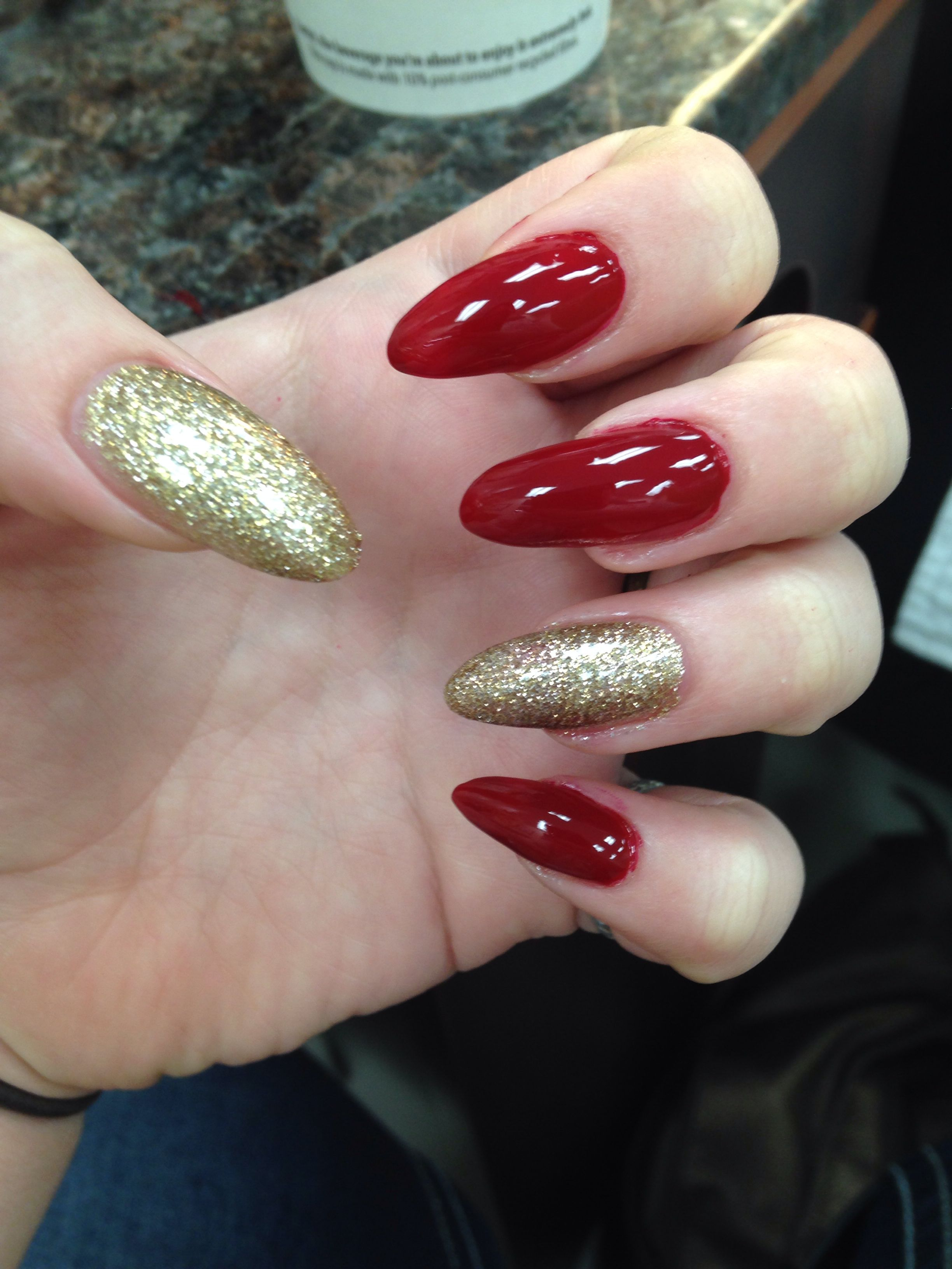 Red And Gold Nails Red And Gold Nails Gold Acrylic Nails Red And Silver Nails