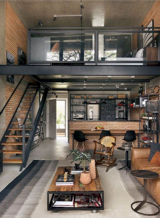 Salon Industrial Deco Style | Haus innenarchitektur, Loft ...