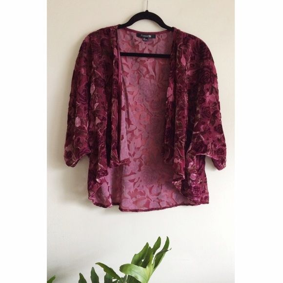 Velvety rose kimono open top So pretty. Sheer material with beautiful velvet rose print all over. Throw on over anything to dress it up or casual with jeans! Fits small through large! Tops