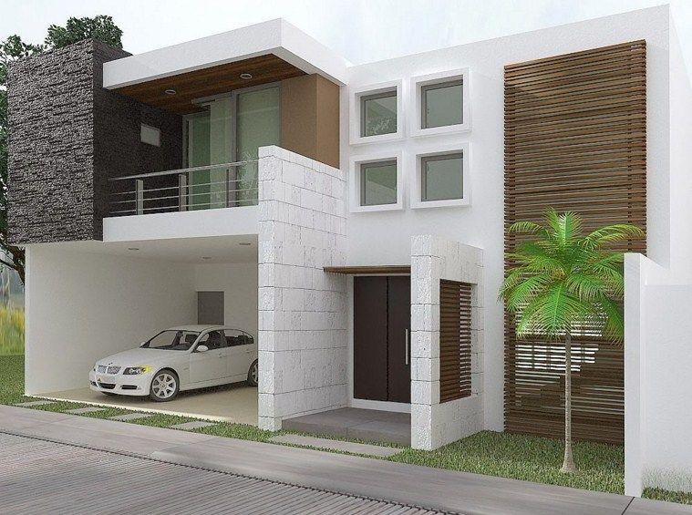 Casa de dos pisos con garaje doble fachadas for Casas en garajes