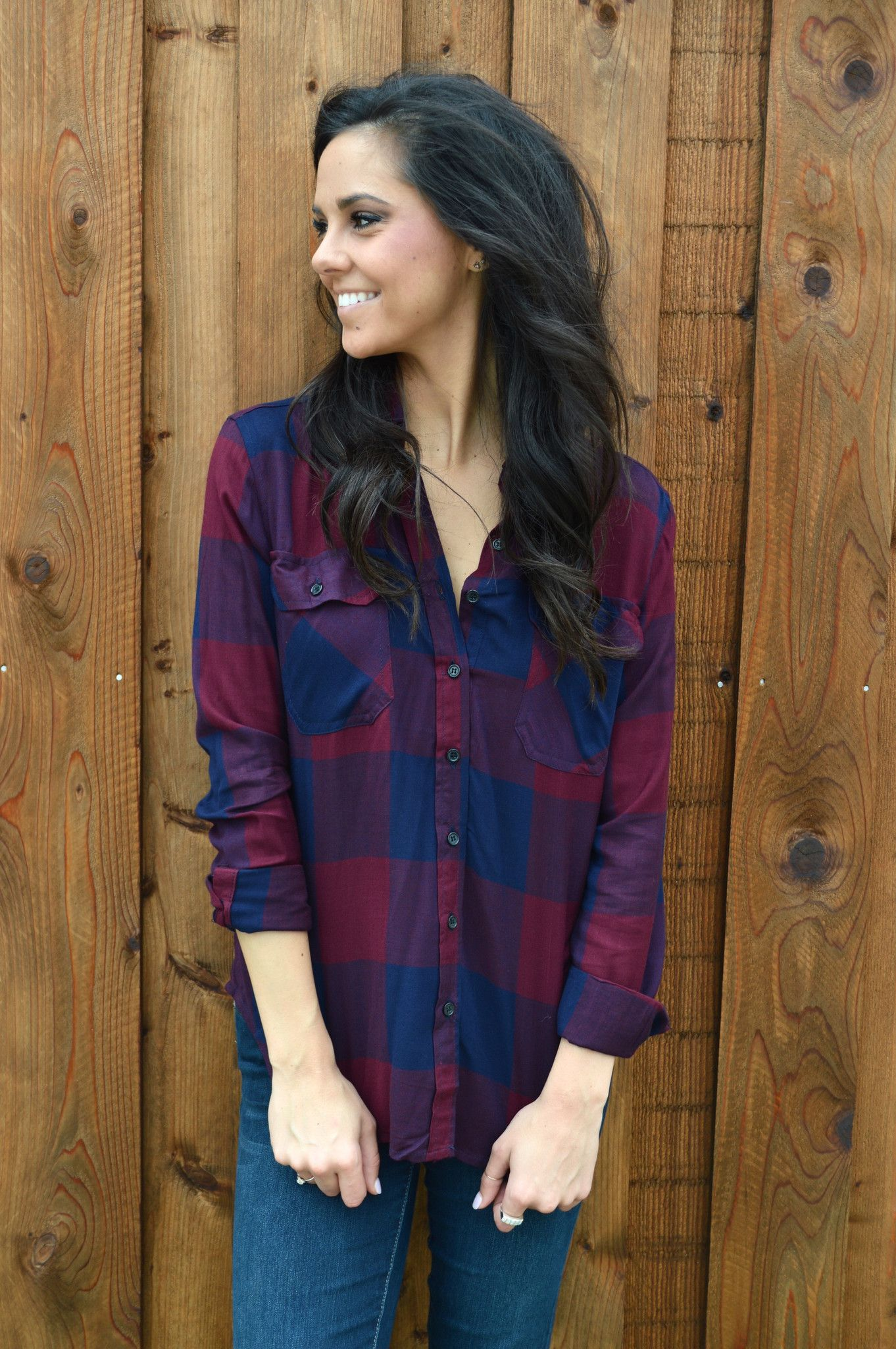 Touchdowns and Tailgates Plaid Blouse- Navy from Shop Southern Roots TX