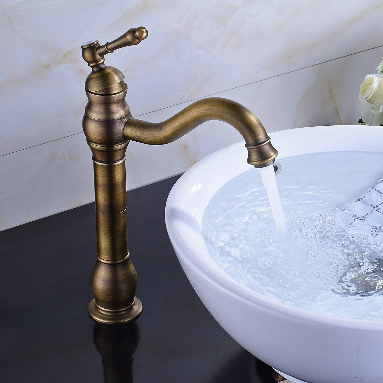 Rozin Antique Brass Countertop Faucet Vessel Tap + Sink Pop up Drain ...