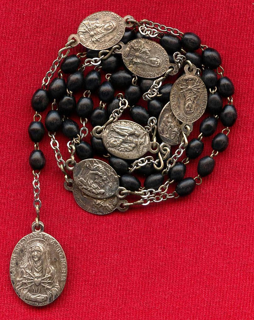 Slender Silver Plated and Wood Servite Rosary of the Seven Sorrows of Mary