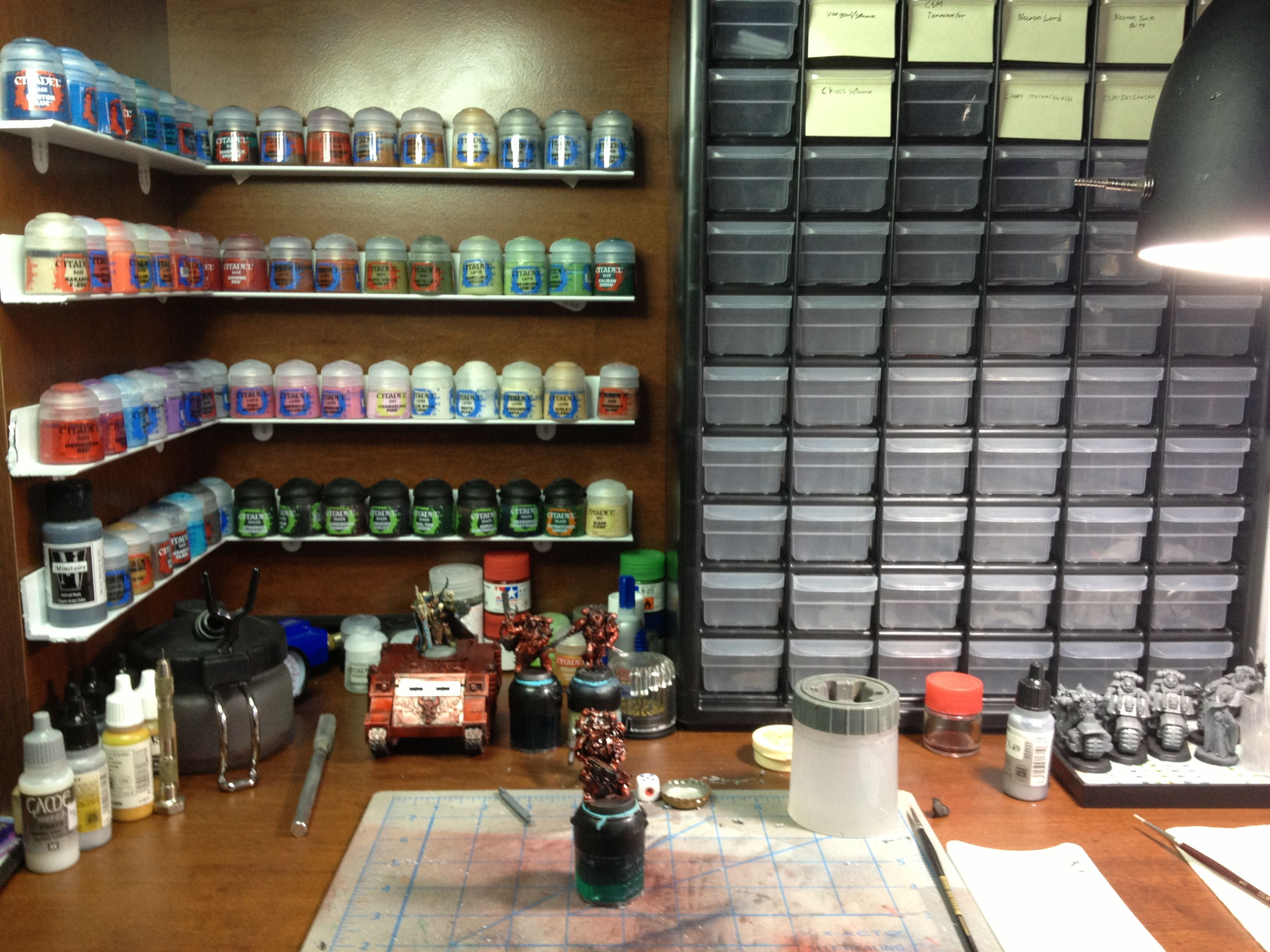 awesome little DIY paint shelves, total cost $15.00