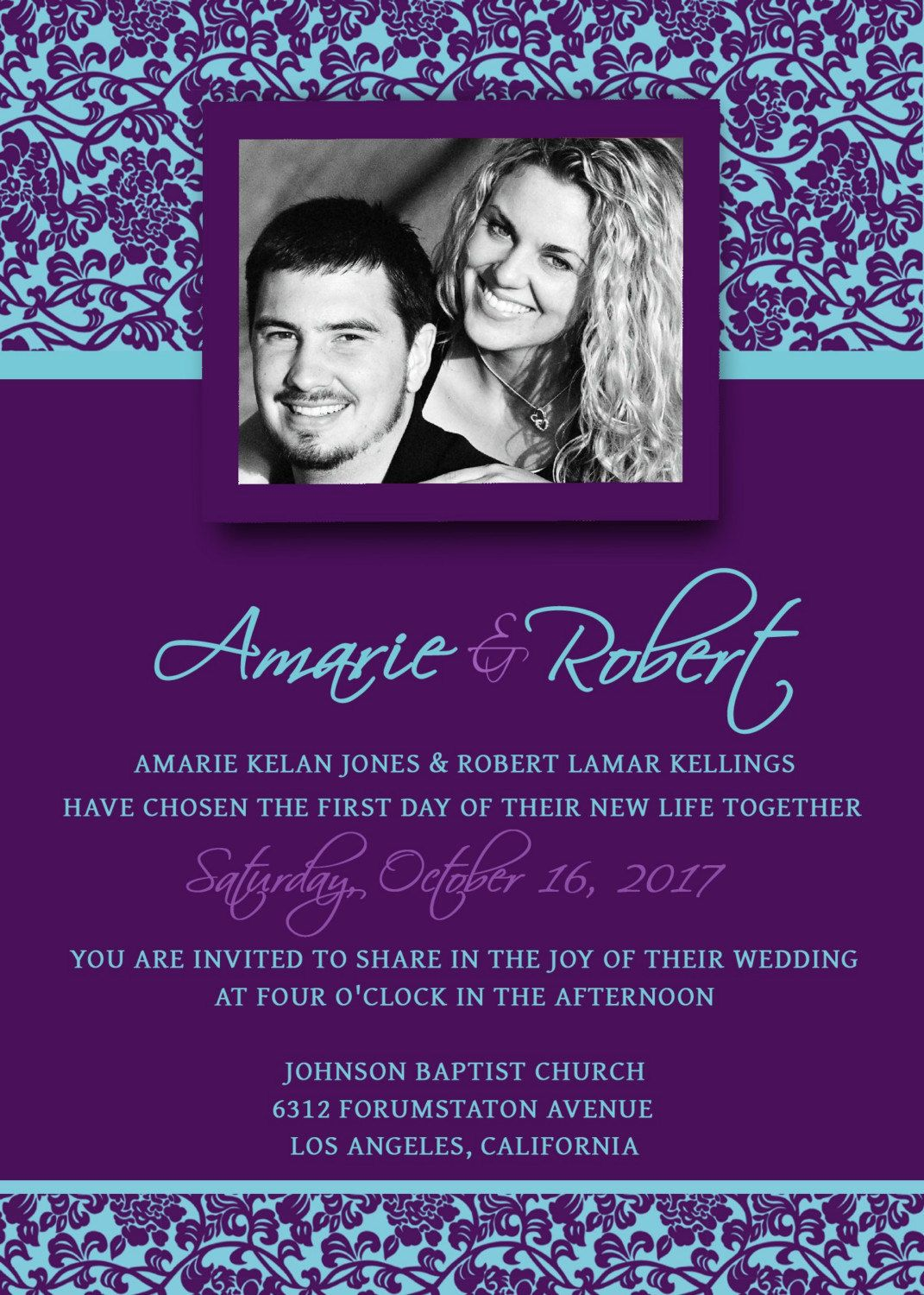 Printable Wedding Invitation Template Set PSD Photoshop - Viole
