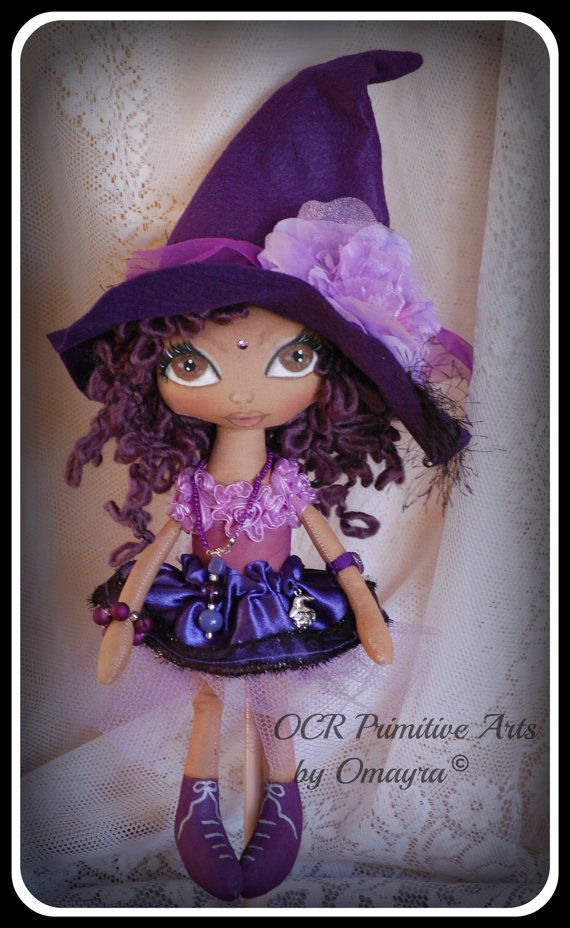 JACARANDA Ooak collectible Art Witch Doll by OCRPrimitiveArts, $110.00