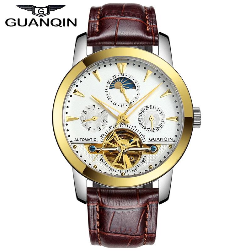 107.57$  Watch now  - Original GUANQIN Automatic Mechanical Tourbillon Watches Men Leather Strap Sapphire Self-Wind Men Skeleton Wristwatch Gold Clock