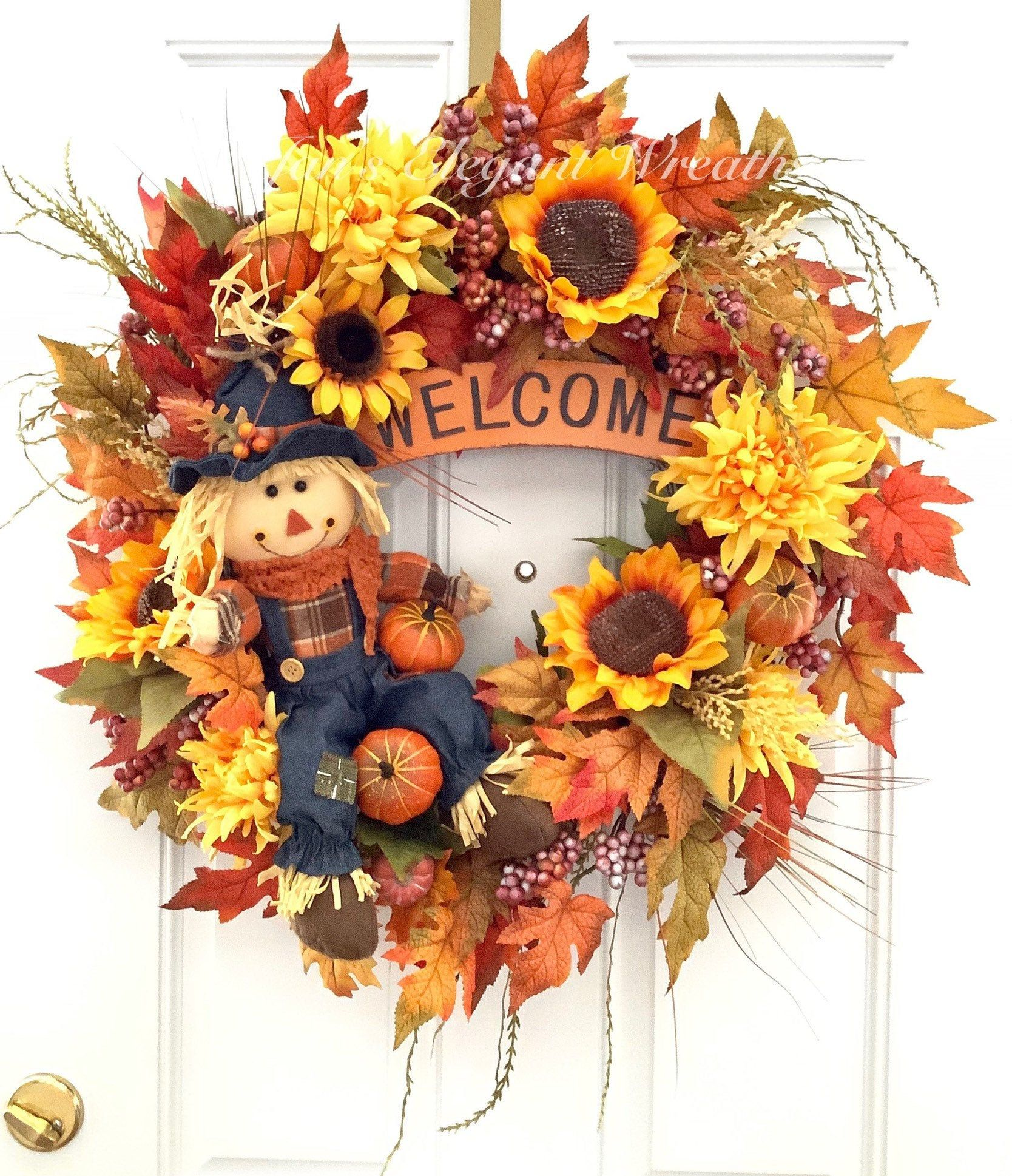 Fall Wreath. Welcome Wreath. Large Fall Wreath. Scarecrow Wreath. Sunflower Wreath for Fall.