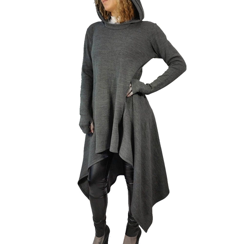 Bodyconu womens asymmetrical irregular hem loose long sleeve hooded