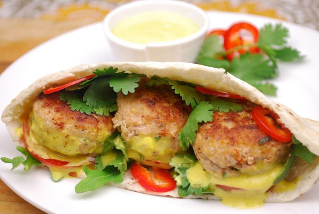 Coconut Curry Turkey pitas- SO good! A little work, not a quick dinner, but delicious!