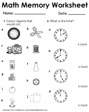 Objects that Roll and Time Math Memory Worksheet | Free Printable ...