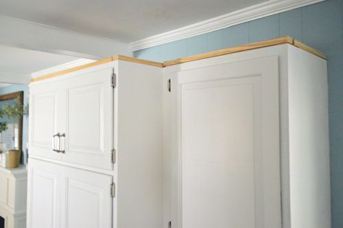How to add crown molding to the top of your cabinets for Kitchen cabinets crown molding installation instructions