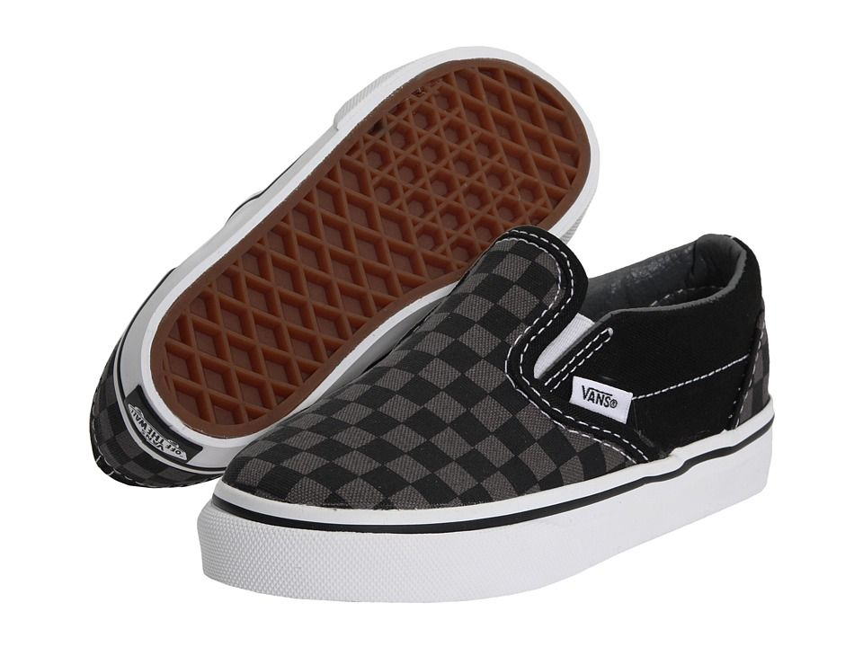 83123547f4 Vans Kids Classic Slip-On Core (Toddler) Kids Shoes (Checkerboard) Black  Pewter