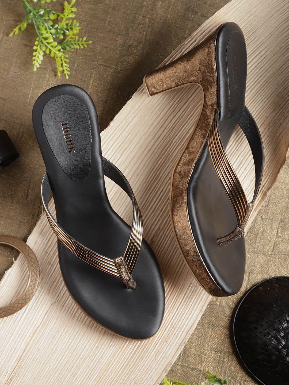 Anouk Gold Black Synthetic Striped Heels Chappal Heels Heels Store Trendy Heels