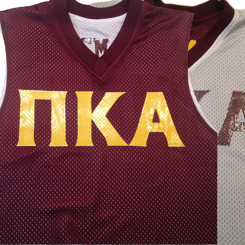 88ef9425e 1431 reversible basketball jersey in maroon and white with greek lettering  in athletic gold. We provided the custom design for this customer who found  us ...