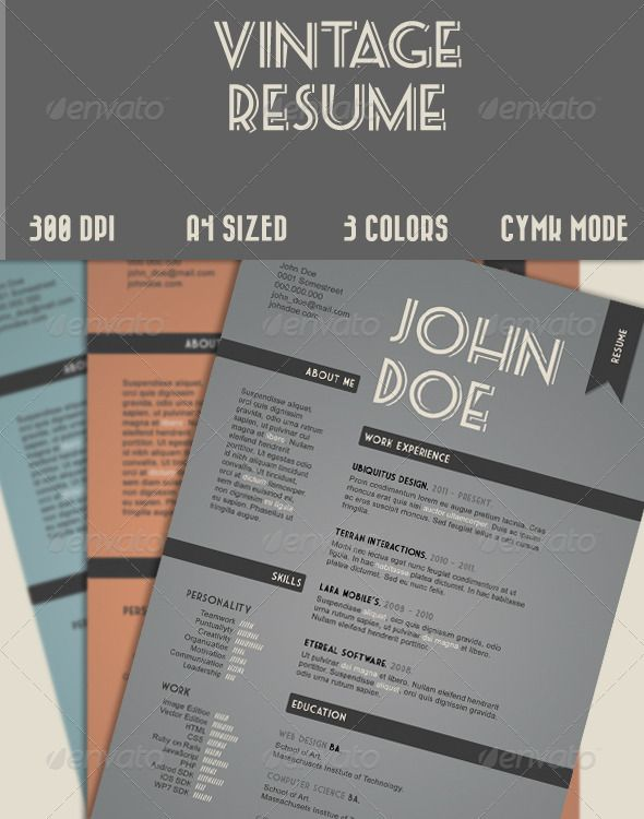 buy vintage style resume by maxipe on graphicriver work resume with a vintage style full editable clearly layered easy to use and ready for print - Vintage Resume Template