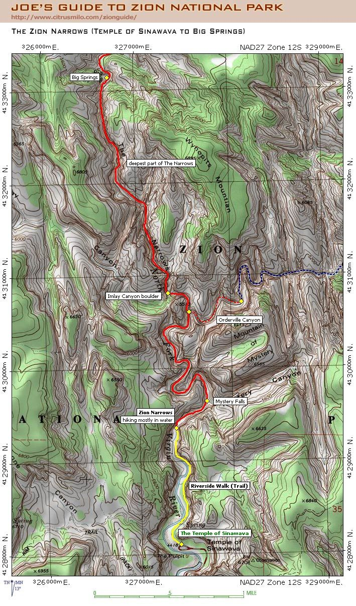 Joe Braun Topo Map For The Zion Narrows Day Hike Hikes We Want - Topo map of usa