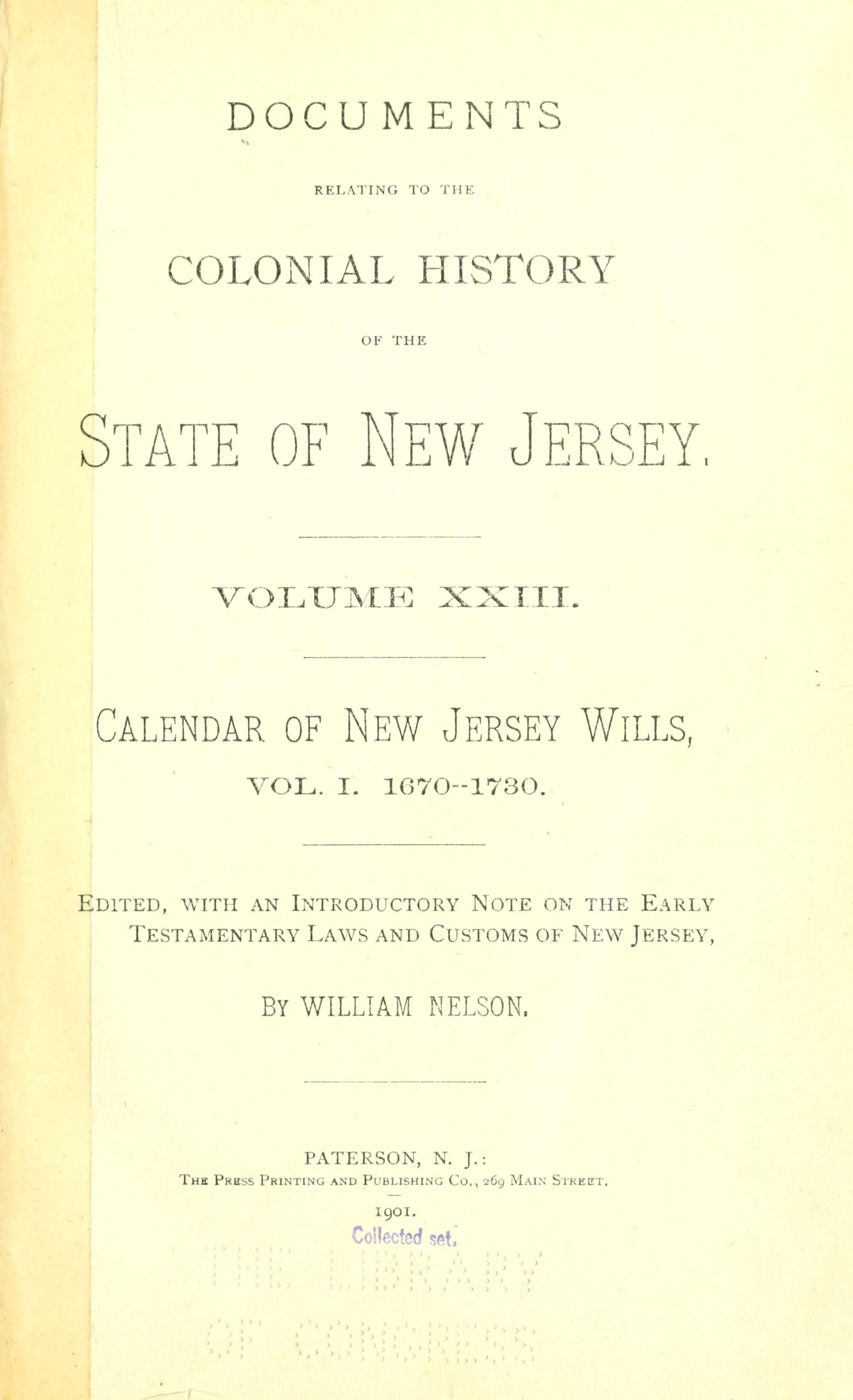 Vol 1 Calendar Of New Jersey Wills Administrations Etc
