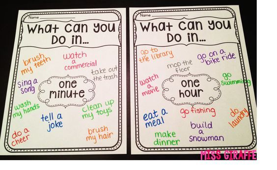 What can you do in a second? an hour? Great tips for teaching time on this blog post!