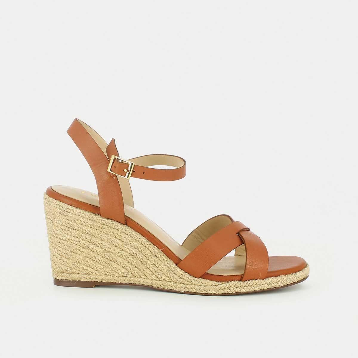 sandales talon compens en corde en cuir camel chameau. Black Bedroom Furniture Sets. Home Design Ideas