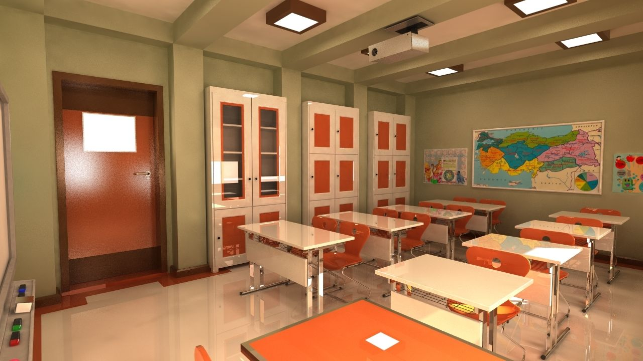 3d max classroom elementary school | Учебные помещения ...