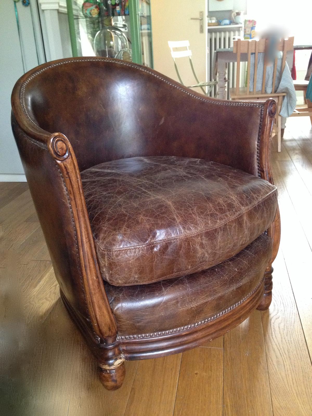 Fauteuil Club A Restaurer l'atelier de la marquise   fauteuil tonneau, mobilier de
