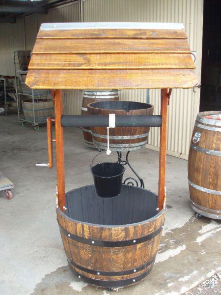 Wishing well tops wine barrel planter fish pond etc garden for Diy wine barrel planter