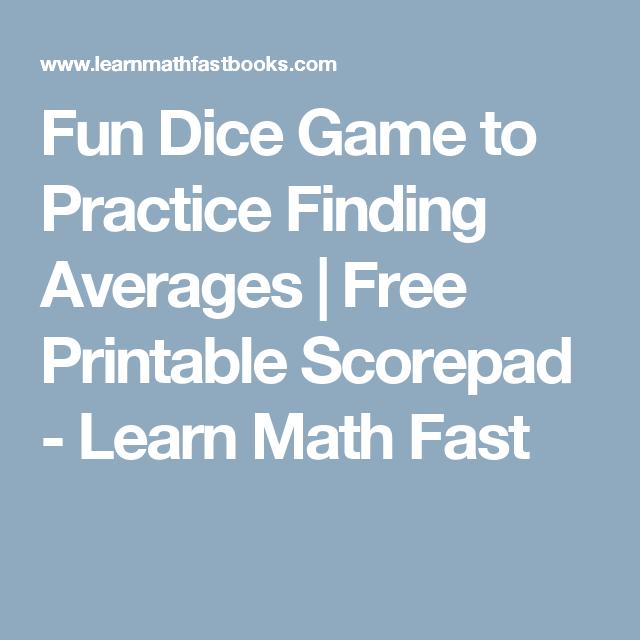 Fun Dice Game to Practice Finding Averages | Free Printable Scorepad ...