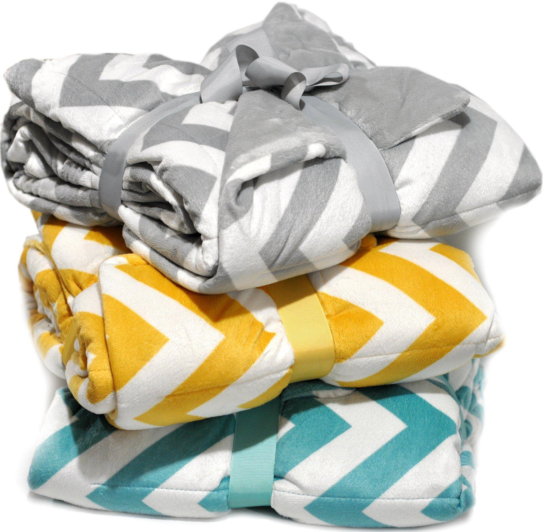 Plush Chevron Quilted Throw Super Soft Velvet Reversible Oversized ... : quilt throw blanket - Adamdwight.com
