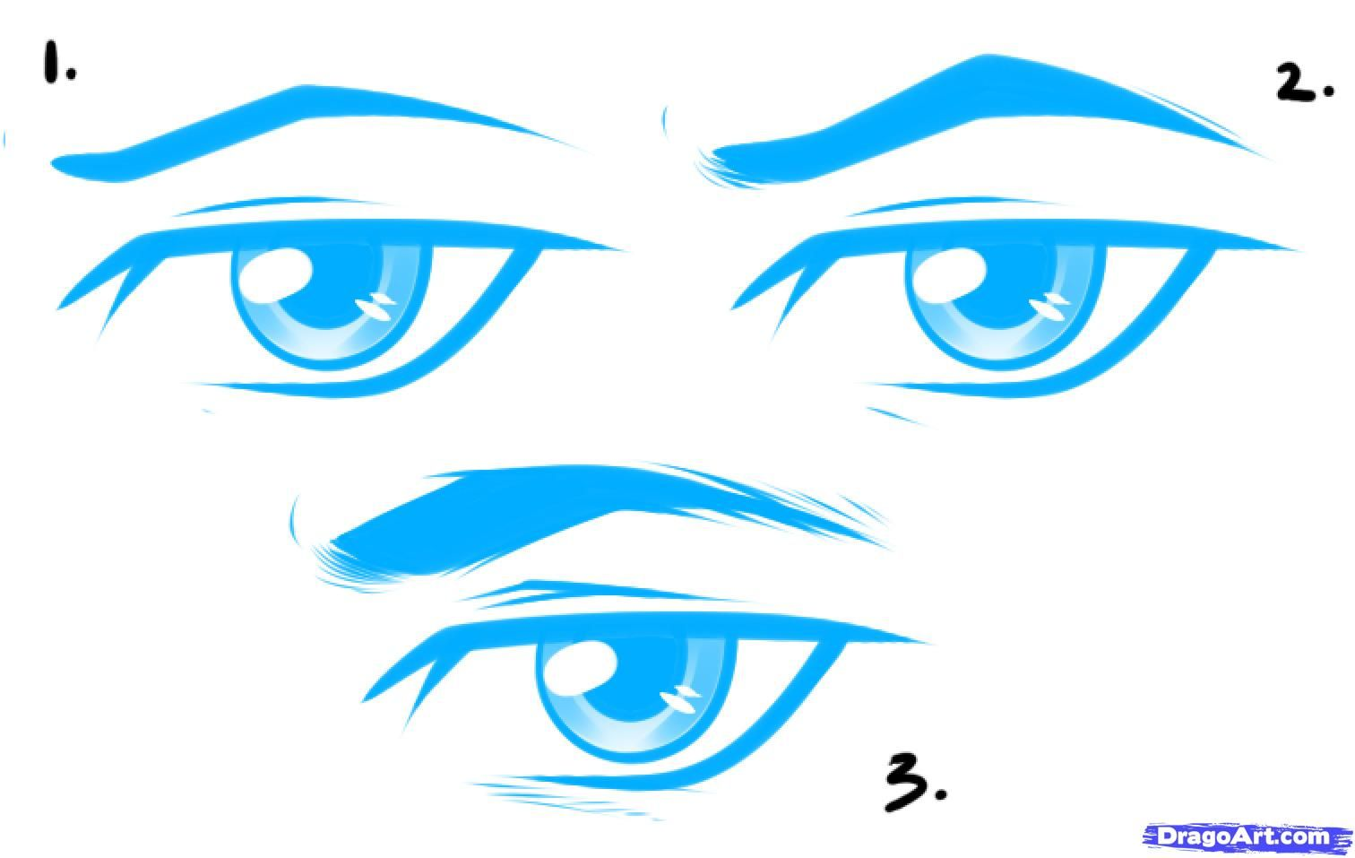 How to draw anime male eyes step 3