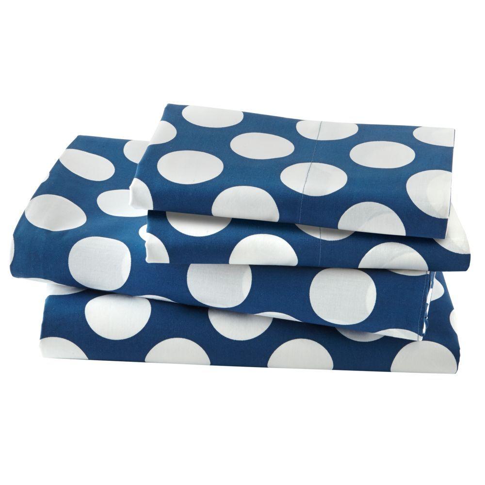 Organic New School Blue w/ White Dot Twin Sheet Set | Twin sheet ...