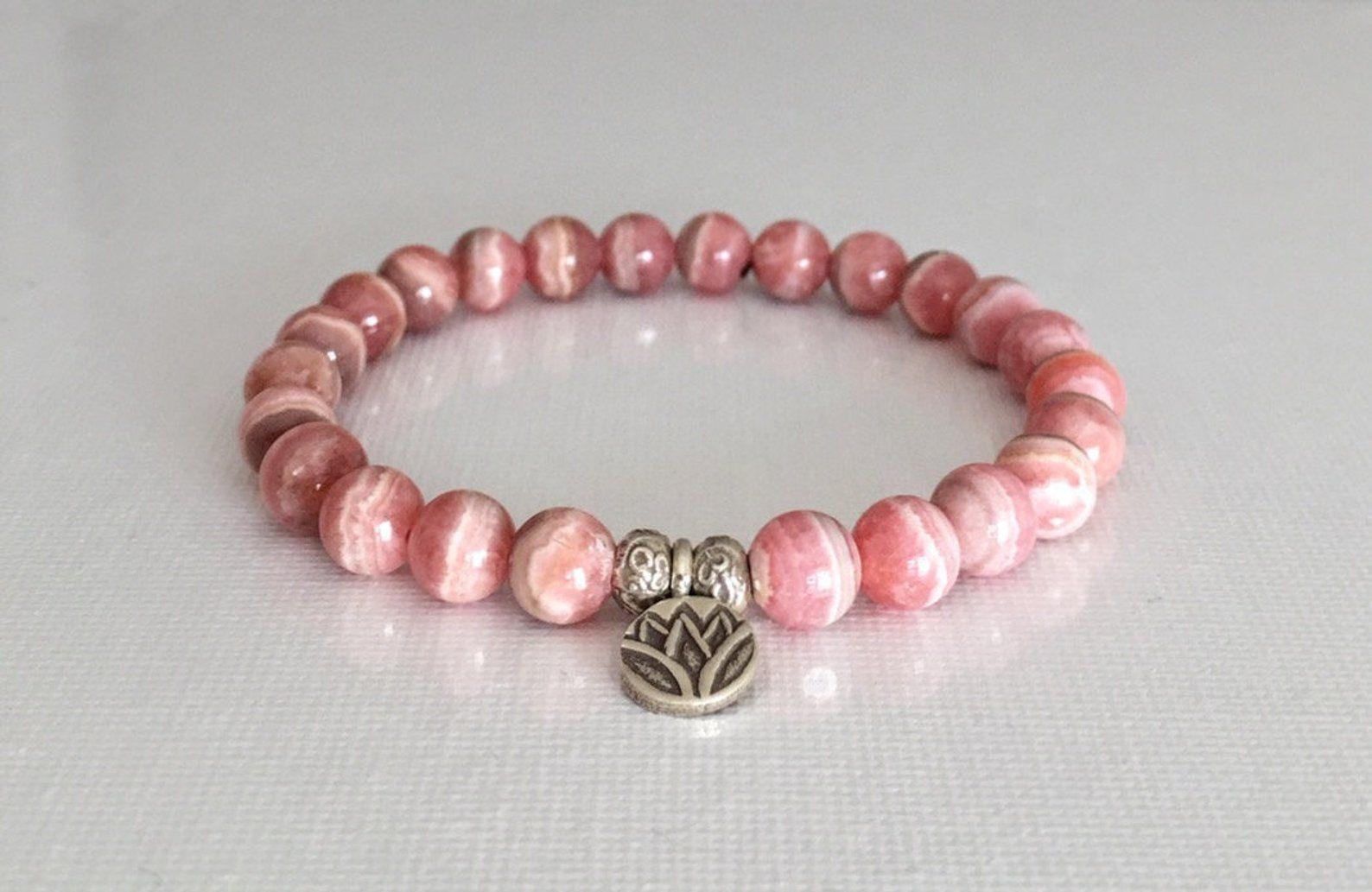 Rhodochrosite Mineral,Rhodochrosite Healing Bracelet LadiesCrystals 8mm Rhodochrosite Bracelet Rhodochrosite Bracelets 8 mm Yoga Energy