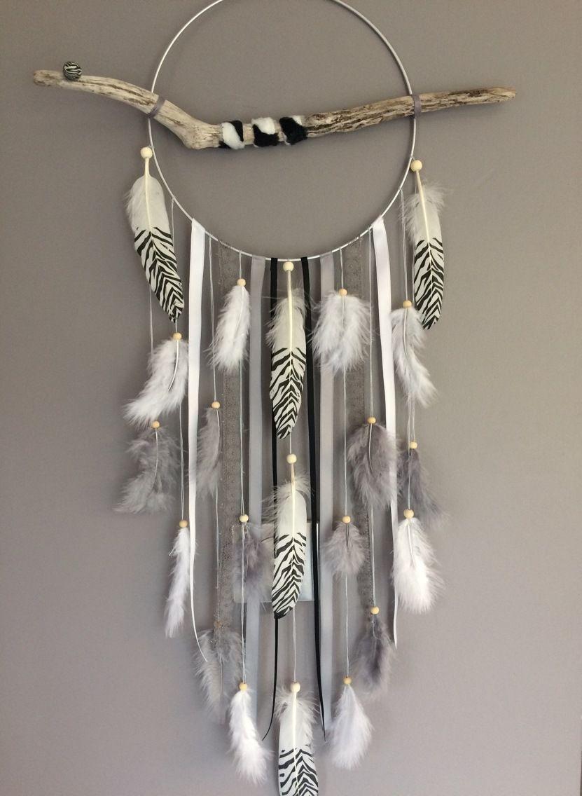 attrape r ves dreamcatcher attrapeur de r ves en bois flott plumes z br es et perles bois. Black Bedroom Furniture Sets. Home Design Ideas