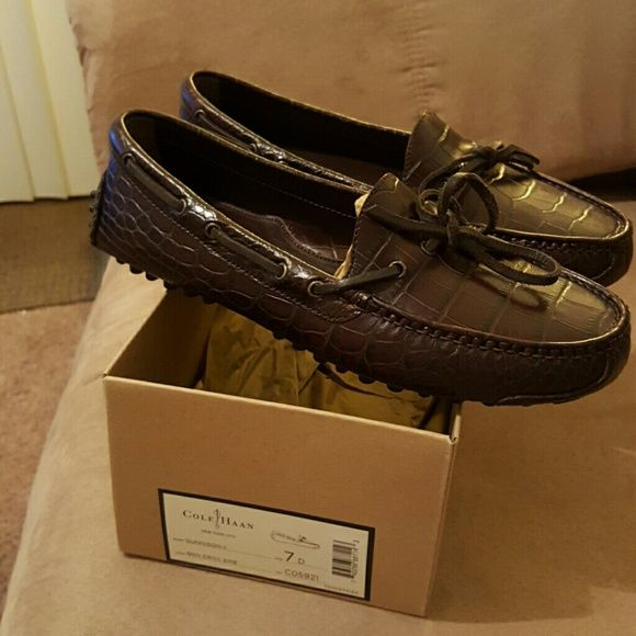 Cole Haan Gunnison Drivers (MEN) Brown Croc Emb Cole Haan Shoes Flats &  Loafers