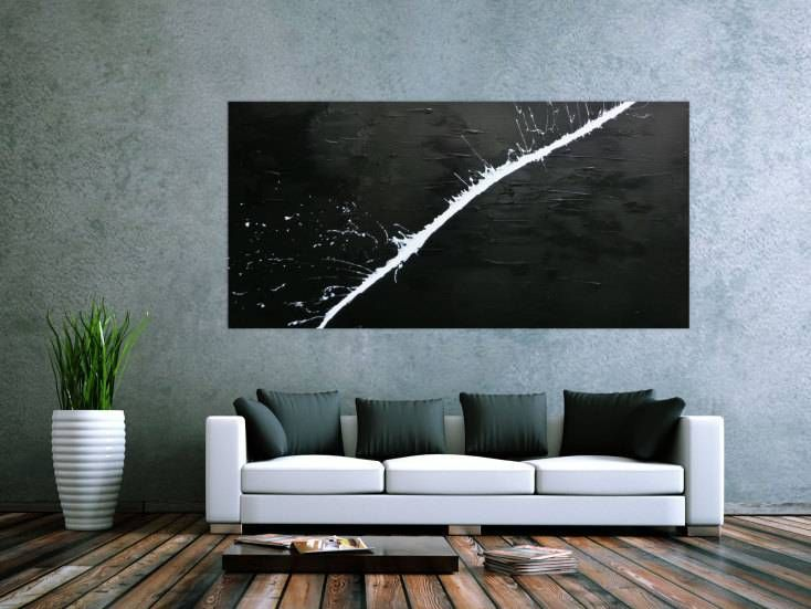 minimalistisches acrylgemälde abstrakt moderne kunst schwarz weiß ... - Moderne Leinwandbilder Wohnzimmer