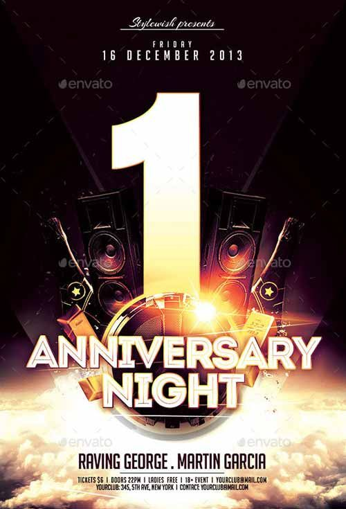 Anniversary Night Flyer Template… | Anniversary Poster Ideas ...